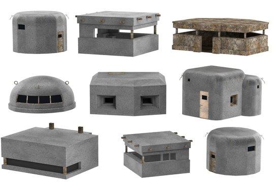 realistic 3d render of bunkers