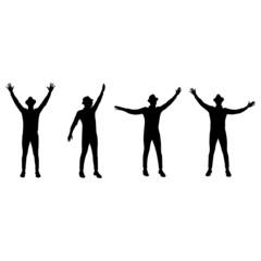 man dancing silhouettes vector illustration
