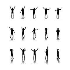 man dancing silhouettes vector illustration