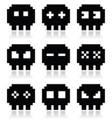 Pixelated 8bit skull vector icons set