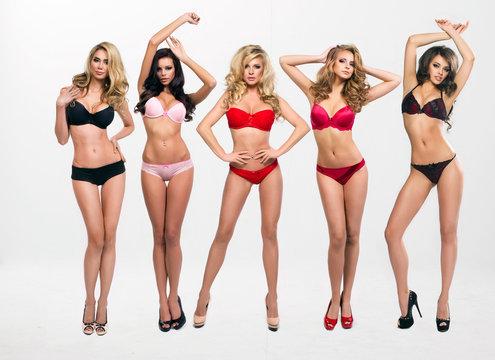 beautiful women in full growth pose in lingerie
