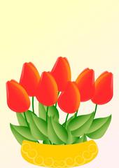 Rote Tulpen in goldgelber Schale