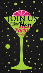 Bachelorette party invitation with martini glass