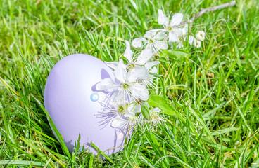 Osterei und Kirschblüten im Gras