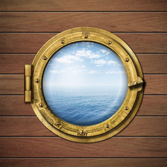 boat window or porthole with sea or ocean horizon on wood wall