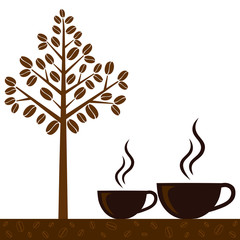 Coffee cup and coffee bean, vector