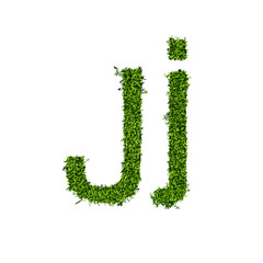 Isolated grass alphabet J