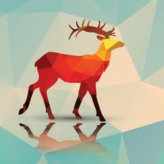 Naklejka premium Geometryczne wielokątne jelenie, wzór, wektor