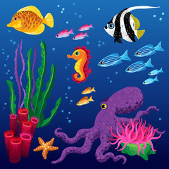 Vector set of sea animals and seaweeds. Marine life.