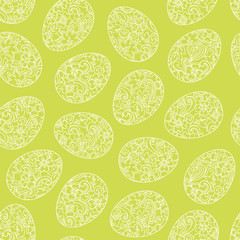 Happy Easter egg seamless background. Vector spring pattern.