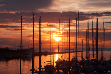 harbour and the yachts at sunset