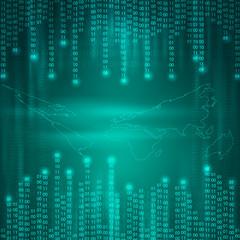 Stream of binary code to world map