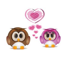 cute round owl in love