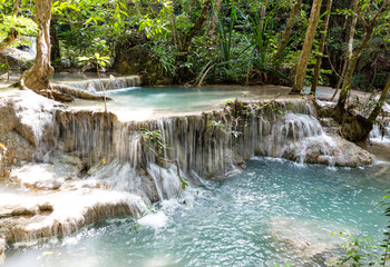 Tropical waterfall. Erawan Kanchanaburi  in Thailand place