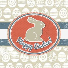 grunge background with easter eggs and rabbit