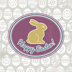 background with easter eggs, label and rabbit, vector