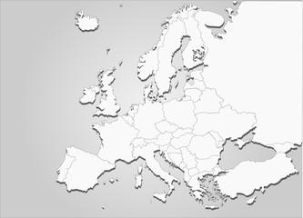 Kontinent Europa mit Landesgrenzen