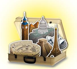 Valigia aperta con edifici famosi