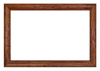 Wooden picture frame, isolated on white background, with clippin