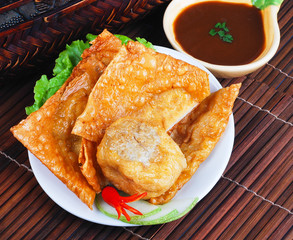 Yong Tau Fu. delicious Asian cuisine of fish paste stuffed