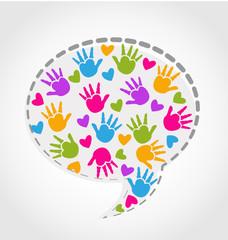Speech hands and hearts logo vector