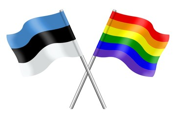 Flags : Estonia and rainbow