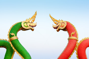 Red and green serpent statue  , Thailand