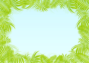 Exotic forest jungle leaves, grass and herbs vector