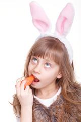 Girl with rabbit ears.