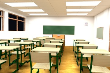 realistic 3d render of classroom