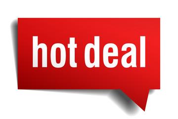 hot deal red 3d realistic paper speech bubble