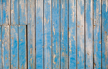 Weathered blue painted wooden background (texture)