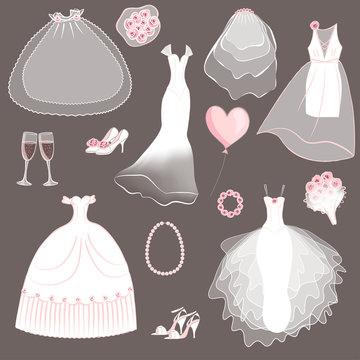 wedding dresses set - vector illustration