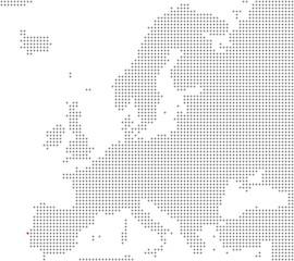 Pixelkarte Europa: Lissabon liegt hier