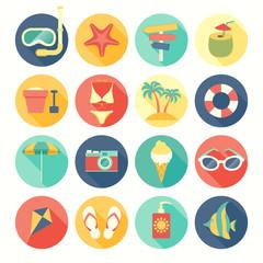 Wall Mural - Beach icons set.