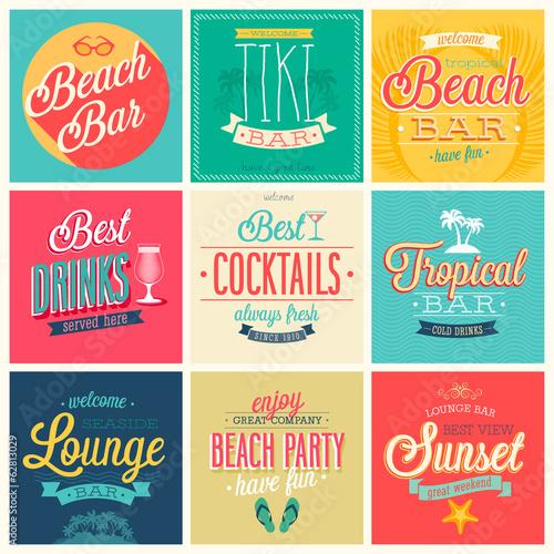 Wall mural Beach Bar set