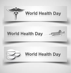 Beautiful world health day three header set medical symbol vecto