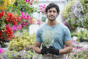 A young man working in a greenhouse full of flowering plants.