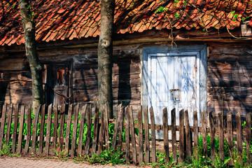 Wooden ramshackle barn