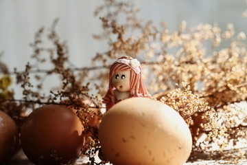 easter girl surprised to find giant easter eggs