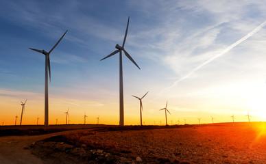 Energias renovables. Parque eolico. Turbinas de viento