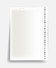 notebook page with alphabet