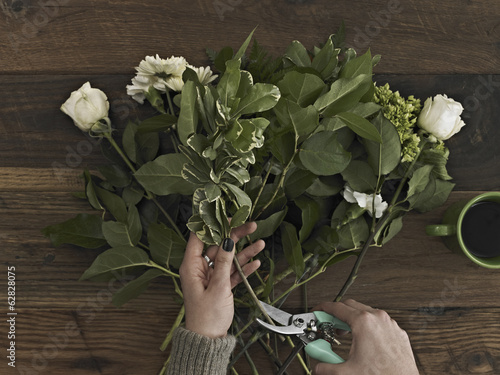 A Woman Holding Secateurs And Cutting The Base Of Flower Stems For A