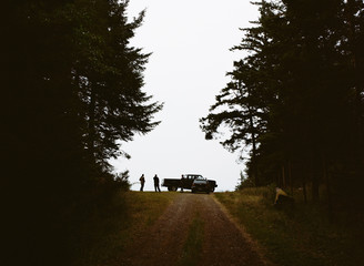A cranberry farm in Massachusetts. A farm road with a vehicle parked at the top. Two people in silhouette.