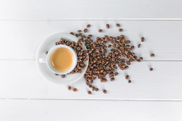 coffee cup white beans