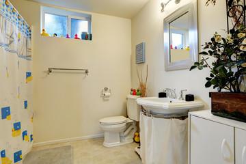 Bathroom with toy ducks