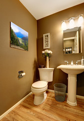Bathroom corner with toilet and washstand