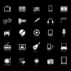 Entertainment icons with reflect on black background