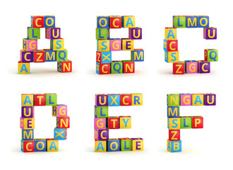 Alphabet on a baby cubes letters
