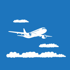 Airplane's silhouette with clouds on blue background.